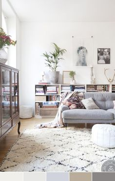Everyone is chasing that classically Scandinavian, bright and airy look, which much of the time means white walls, a wooden floor and plenty of natural light. It can be hard to strike the right balance between 'fresh' and 'cold', which is where the introduction of lots of lovely texture comes in. I fell in love with this room, which offsets a very neutral palette with a squishy sofa, fluffy rug and the occasional pouffe! It manages to feel cosy and inviting without using much colour at all…