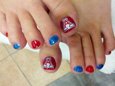 University of Arizona! U of A Wildcats pedicure. So cute! Bear Down <3 #UofA #pedi