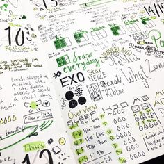 bujo love #bujo  This has been my favorite spread so far in my bullet journal experience  It has my fav kpop bands my music or podcasts I listened water & sleep tracker inspo quotes daily caption and even a vocab word of the day! AND it's themed Legend of Zelda!! I really loved creating this spread