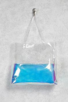 Clear Metallic Colorblock Tote