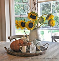 41 Stunning Kitchen Table Centerpiece Ideas 95 Serendipity Refined Inside the French Farmhouse Fall Decorating with Pumpkins Pinecones and 2 Farmhouse Kitchen Inspiration, Farmhouse Kitchen Tables, Farmhouse Decor, Farmhouse Kitchens, Country Kitchen, Fall Kitchen Decor, Fall Home Decor, Autumn Home, Early Autumn