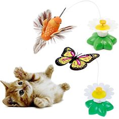 2 Set of Butterfly Toy Bird Toy for Cats,Pet Cats Funny Rotating Electric Flying Butterfly  #Cats