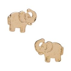 Tazza Goldtone Elephant Stud Earrings ($6.99) ❤ liked on Polyvore featuring jewelry, earrings, elephant stud earrings, gold colored jewelry, goldtone jewelry, elephant jewellery and elephant jewelry