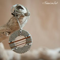 Necklace. Hemp twine, sand and seashells' chips. | Handamade by FossalonArt