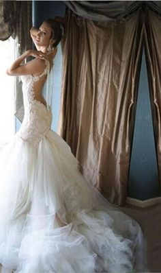 Luxury Real Sample Backless Pearls Mermaid Wedding Dresses Vintage Lace Noble Vestido De Bridal Gowns