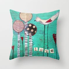 Love Throw Pillow by sunshine girl designs - $20.00