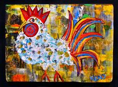 Rooster Primitive Painting Maine Abstract Folk Art Outsider Coastwalker | eBay