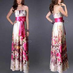 vestido largo strapless de gasa floreada 3xl