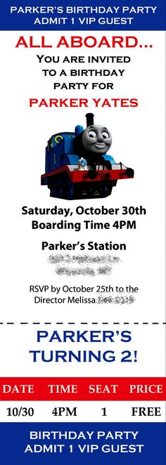 Thomas the Train Birthday Invite