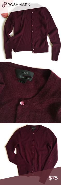 J. Crew 100% Cashmere Cardigan Sweater ▫️From the best Italian mills this famously soft cardigan will last forever                                                                  ▫️Color: Deep Burgundy                                                        ▫️Fit: Semi Cropped (see measurements)  ▫️Italian cashmere in a 12-gauge Knit ▫️Great Preowned Condition 🚫No Trades🚫 J. Crew Sweaters Cardigans