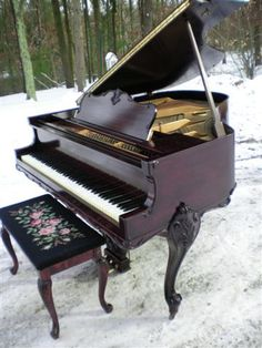 Piano. Art Case Weser Brothers Mahogany Grand Piano in the snow. See more at http://www.SonnyPianoTV.com