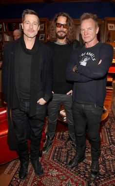 Brad Pitt, Sting, & Chris Cornell from The Big Picture The actor and rock legends are seen at with Sting and Chris Cornell at EBMRF Benefit in Malibu. Brad Pitt, Brad And Angelina, Angelina Jolie, X23 Logan, The Police Band, Say Hello To Heaven, Chris Cornell, Nick Jonas, Music Photo