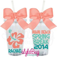 this would be cute for summer!!!! Hibiscus Flower Personalized Acrylic Tumbler  Spring Break 2014, Srping Break Gear, Spring Break Tumbler, Spring Break Cup, LylaBug Designs