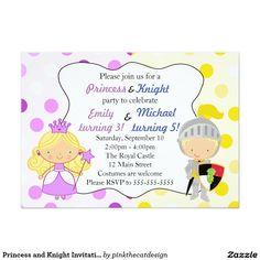 Princess and Knight Invitation Kids Birthday Party