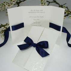 Verona Navy Blue Wedding Invitations/menu card idea for dinner party Wedding Cards, Diy Wedding, Dream Wedding, Wedding Day, Trendy Wedding, Wedding Venues, Ribbon Wedding, Luxury Wedding, Summer Wedding