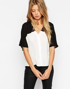 Image 1 of ASOS Mono Color Block Cropped V Neck Kimono Blouse