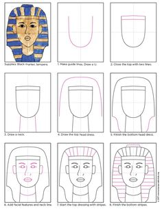 A combo make in art heaven — gold tempera paint and a how to draw King Tut.
