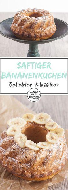 Dieses Bananenkuchen-Grundrezept ist kinderleicht und lässt sich gut abwandeln. Der einfache saftige Bananengugelhupf schmeckt auch toll als Schoko-Bananenkuchen oder Kiba-Kuchen.