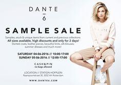 DANTE6 SAMPLE & STOCK  SALE -- Rotterdam -- 04/06-05/06