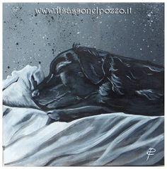 Ritratto dipinto con colori acrilici su tela 30x30x4 cm. Paola Capponi