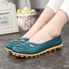 2016 Primavera Nueva Moda de Cuero PU Mujer Pisos Mocasines Cómodo Mujer Zapatos recortes Ocio Mujer Plana Zapatos Casuales ST181