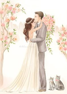 Save the Date Illustration Wedding Portrait Bride Groom by Reani
