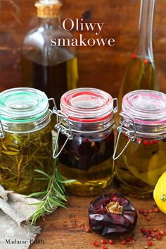 Oliwy smakowe - zrób to sam! Preserves, Pickles, Cucumber, Pantry, Mason Jars, Food And Drink, Homemade, Vegetables, Cooking