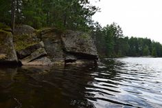 In search of the perfect jumping rock. This one's a little shallow. Ontario Lake, Canada Ontario, Canoe Trip, Lake Water, Canoeing, Shallow, Granite, River, Rock