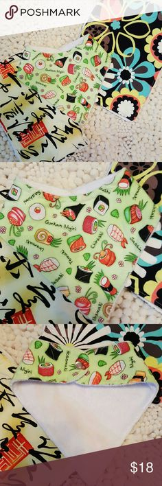 Sushi? Baby burpie and bib bundle You will receive these super cute boutique burpie cloths and sushi bib. Great gift for boy or girl. The bib is lined with minkie material which is super soft. Accessories Bibs
