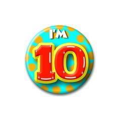 Speldje I am 10  Verjaardags button I am 10. Button in vrolijke kleuren met de opdruk: I am 10.  EUR 1.99  Meer informatie  #sinterklaas #zwartepiet