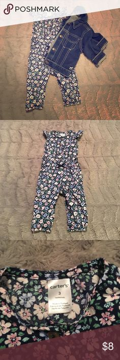Carter's Floral, One Piece Outfit Gorgeous! This is so cute. Perfect just in time for spring. It has a tiny blue ribbon bow at the waist and features adorable cap sleeves. Carter's One Pieces