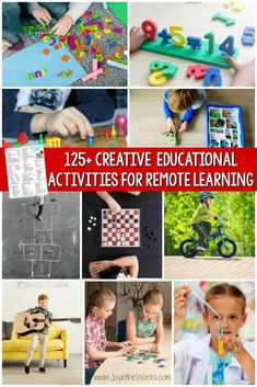 Distance learning can be fun with this FREE Printable of 125+ creative educational activities for remote learning. #remotelearning #distancelearning #educationalgames #educationalactivities #homeschooling #learningthroughplay #freeprintable