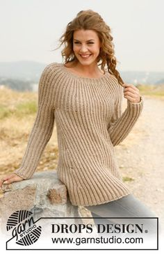 "Knitted DROPS jumper in English rib with round yoke in ""Nepal"". Size: S - XXXL. ~ DROPS Design"