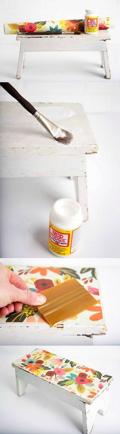 In this DIY stool makeover project I revamped an antique store find with pretty paper and Mod Podge. In this DIY stool ma Home Crafts, Diy And Crafts, Arts And Crafts, Diy Furniture Projects, Craft Projects, Geek Furniture, Pallet Furniture, Craft Ideas, Outdoor Furniture