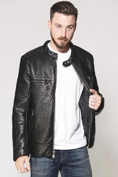 Andrew Marc Gramercy Black Faux Leather Jacket | South Moon Under