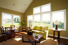 Decorating, Easy On The Eye Sunroom Design Ideas Others Pittsburgh Luxury Home Type Photos The Stanford With Dark Yellow Painting Walls And . Sunroom Furniture, Outdoor Furniture Sets, Furniture Design, Glass Round Dining Table, Wooden Dining Chairs, Round Glass, Sunroom Decorating, Sunroom Ideas, Decorating Ideas