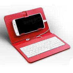 General Wired Keyboard Flip Holster Case For Andriod Mobile Phone 4.2''-6.8'' Sale - Banggood.com