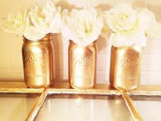 Gold Mason Jars, Gold Jar, Gold, Home Decor, Painted Mason Jars, Set Of 3