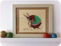 Coniglio e fragole _ illustration originale encadrée
