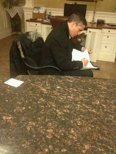 Jim Caviezel doing his homework...