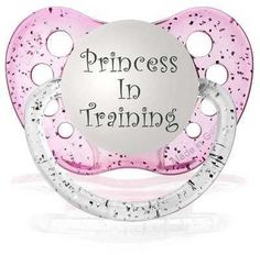 GIRLS PRINCESS IN TRAINING PINK GLITTER DUMMY PACIFIER BABY SHOWER/CHRISTENING |
