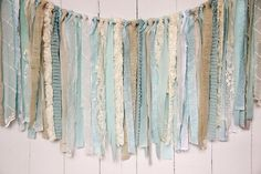 Burlap Lace and Linen Rag Tie Banner  Seafoam by EleganceProps, $30.00