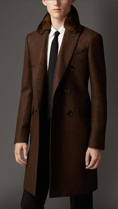 Burberry London Wool Greatcoat with Rabbit Topcollar