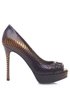 Stylish peep toe pumps by Versace. Snake skin optics, small plateau high heel. 51% off retail price!