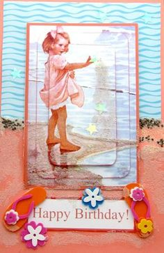 Little beach girl vintage style pyramage card on Craftsuprint designed by Toni Martin - made by Darlene Handorff - Adorable soft vintage look pattern of a little girl playing with the sand. I printed the pattern onto glossy photo paper after adding a little more contrast and cut out all the pieces. I used a letter sized salmon colored base card stock folded in half. I used a piece of mail advertising paper for the water in background added with DST.Then I added the little one using 3 of the…