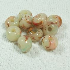 Translucent Marbled Polymer Clay Beads with Copper by BarbiesBest, $11.00