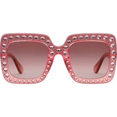 Gucci Oversize Square-Frame Acetate Sunglasses With Crystals ($965) ❤ liked on Polyvore featuring accessories, eyewear, sunglasses, women, oversized eyewear, wide sunglasses, pink glasses, gucci and lens glasses
