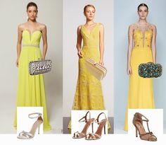 Bolsa, sandália e maquiagem para usar com vestido de festa amarelo - Madrinhas de casamento