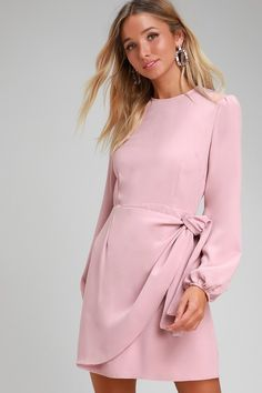 Lulus   Believe It or Knot Rose Pink Long Sleeve Tie-Front Skater Dress   Size Small   100% Polyester