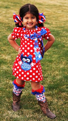 Memorial Day July 4th Red White Polka Dot Sequined Owl Ruffled Boutique Pillowcase Dress Blue Star Bow Free Shipping by SwankyDudzBoutique on Etsy